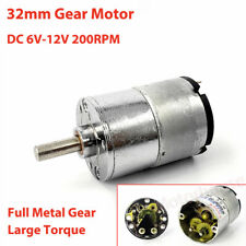 Dc 6v 12v 200rpm Slow Speed Micro 32mm Metal Gearbox Gear Motor Large Torque