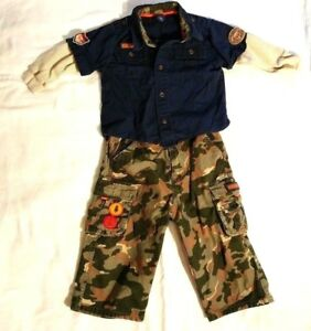 Oshkosh Boys Outfit Camouflage Pants Top Set Size 18 Months