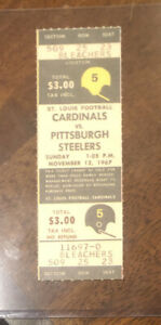 1967 FULL UNUSED PIttsburgh Steelers @ Cardinals NFL ticket stub- MINT CONDITION