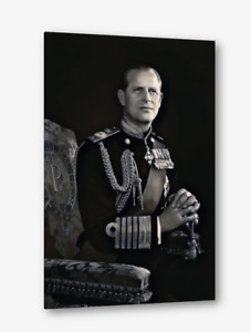 Canvas wall art HRH Prince Phillip greyscale portrait