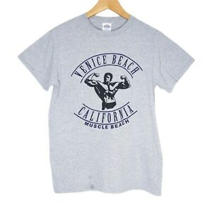 Muscle Beach Venice California Mens T-Shirt Size Small Grey Schwarzenegger
