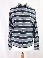 Vintage Jaeger Navy Blue & White Striped Blouse Shirt UK Size 12 Work Smart