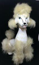Vintage White Poodle Mid Century Figurine with Fur
