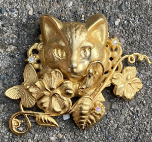 Kirks Folly Signed Pin Brooch Cat Face Gold Tone AB Crystals Butterfly Flowers