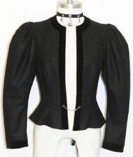 "BLACK WOOL & VELVET JACKET Women Austria ELEGANT Swing Dress Dirndl 4 XS B34"""