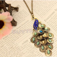 Chic Bronze Style Peacock Blue Crystal Chain Pendant Necklace Good Qualityeca