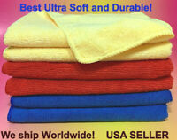 "6 Red Yellow Blue 16x16"" Microfiber Cleaning Cloth Car Polishing Detailing Towel"