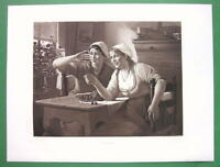 YOUNG GIRLS Having Fun with Cherries - 1893 Victorian Era Antique Print