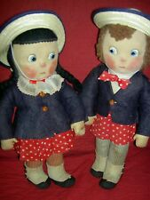 "VERY RARE pair 16"" antique Mme. Alexander ""Susie Q"" & ""Bobby Q"" 1938 cloth dolls"
