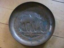"Camel/Rider & Bird Copper Tray-Very Vintage & Ornate-8 5/8"" Wide"