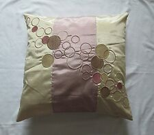 """NEW - Faux Silk Embroidered Circle Cushion Cover Cream Dusky Rose Pink Beige 18"""""""