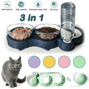 3in1 Non-slip Double Pet Bowls Stand w/ Raised Stand Dog Cat Food Water Feeding