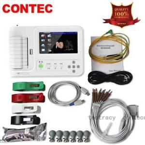 Digital 6 Channel 12 lead ECG/EKG machine,software Electrocardiograph,touch,CE