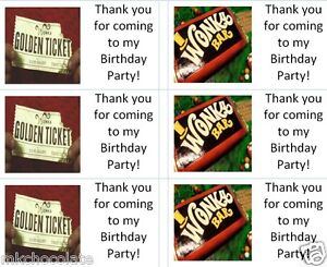 40x Personalised willy wonka/chocolate labels/stickers/birthday/party/cake/bags