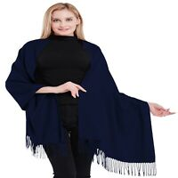 Navy Blue 100% Cashmere Shawl Pashmina Scarf Hand Made in Nepal CJ Apparel *NEW*