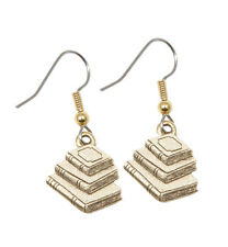 NEW Book Earrings Gold Pewter charms teacher gift stack style USA-made lead-free