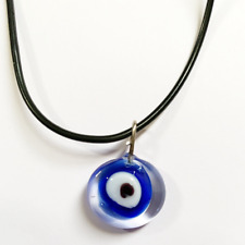 Blue Glass Evil Eye Pendant Necklace
