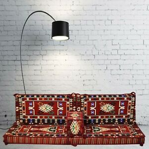 Floor Seating Cushion Covers, Oriental Kilim Corner, Hookah Lounge, Pallet Couch