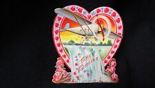 Vintage Airplane & Niagara Falls Valentine Card c. 1930s Germany