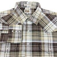 Ely Cattleman Brown Plaid Pearl Snap Wrinkle Resistant Western Shirt Mens XLT