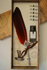 Vintage Style Calligraphy Feather Quill Pen Metal 5 Nib Dip Pen Set Holder & Btl