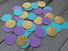 150 Mermaid Confetti, Gold Glitter, Teal And Purple Circles, Under The Sea Party