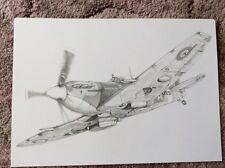 Spitfire a4 STAMPA DEL DISEGNO ORIGINALE MATITA ww2 Aircraft aereo regalo di Natale Ideale