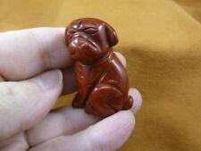 (Y-Dog-Sh-562) Red Shar Pei Pug gemstone carving dog Sharpei stone Figurine