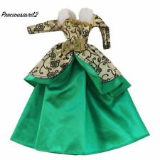 New Barbie doll clothes outfit princess wedding dress green brocade fur trimmed