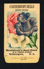 ANTIQUE 1918 CANTERBURY BELLS SEED PACKET / ROUDABUSH SEED STORE, N.C. R-013