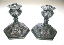 Gorgeous Vintage 1922 Silver Repposse' Ornate Candle Holder Pair
