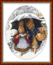 "'Mr AND MRS RABBIT IN THE SNOW' Cross Stitch Chart (9""x11½"") Christmas/Xmas"