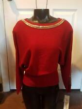 NEW WOMAN'S NY COLLECTION RED COLD SHOULDER SWEATER SILVER ACCENTS SIZE  XL