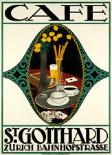 Cafe St Gotthard 1913 Swiss Coffee Vintage Advertising Giclee Canvas Print 20x28