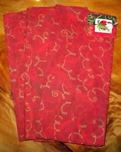 "CHRISTMAS HOLIDAY RED & GOLD ORNAMENTS 100% COTTON CLOTH NAPKINS 22"" - SET OF 3"