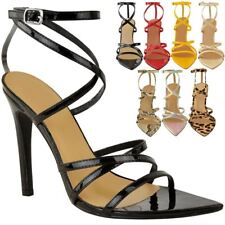 Womens Ladies Pointed Barely There High Heels Sandals Strappy Black Patent Size