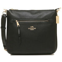 NWT COACH Mae File Crossbody Bag Classic Purse Zip Purse Black Gold Logo F34823