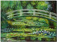"CLAUDE MONET ~ Japanese bridge waterlilies  *FRAMED* CANVAS ART 24x16"""