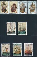 """Guyana """"SAILING SHIPS & TRAINS"""" SETS OF (1988-90); USED CTO'S/HINGED"""