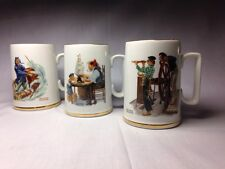 3 1985 Norman Rockwell Nautical Mugs with Gold Trim ~ Museum Collection!