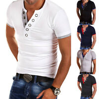 Men's V Neck T-Shirt Tops Short Sleeve Summer Slim Fit Basic Casual Tee Shirts