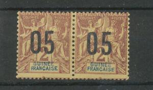 Colonie GUINEE N°48 et 48(A) 05 sur 2c chiffre espacée se tenant. N* TTB P5059