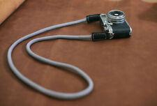 Soft gray climbing rope 10mm black leather handmade camera neck strap | windmup