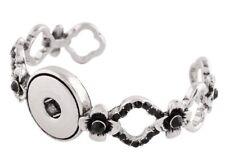 Silver Black Rhinestone Flower Cuff 18-20mm Snap Bracelet For Ginger Snaps