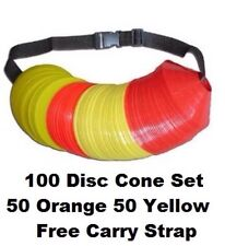100 Field Markers w/ strap Disc Cones Markers Soccer Football Coaching training