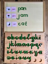 Homeschooling Montessori Movable Alphabet Letters green wBox & pink cards 3+