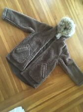vintage ll bean coyote fur and alpaca wool coat jacket parka M