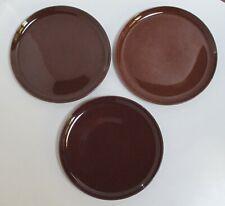 3 Vintage Russel Wright Steubenville Bean Brown Dinner Plates, American Modern