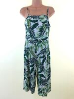 NEW LOOK tropical palm print culotte cropped playsuit jumpsuit size 10 euro 38