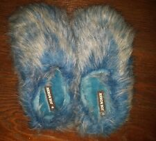 Blue fuzzy slippers